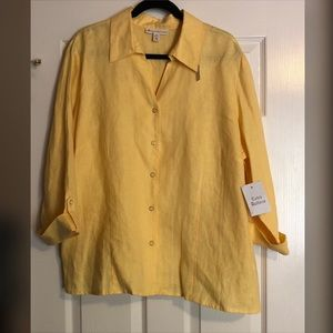 JM Collection 100% Linen Yellow 3/4 Sleeved Top